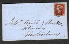 GB 1853 Cover Penny Red Bristol 134 numeral cancel to Glastonbury