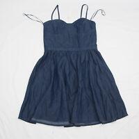 LC Lauren Conrad Spaghetti Strap Dark Chambray Denim sun Dress Size 12 blue