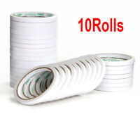 10Rolls White Double Sided Faced Super Strong Adhesive Tape For DIY Craft Office