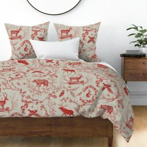 Toile Christmas Woodland Red And Sateen Duvet Cover by Roostery