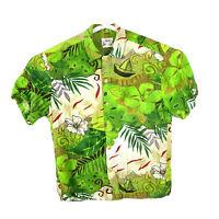Jams World Vintage Hawaiian Shirt Floral USA Mens Medium 90s Aloha Rayon Green