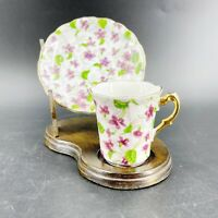 Vintage Chintz Demitasse Tea Cup Saucer Japan Gold Trim February Purple Violets
