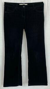 NEXT PETITES Womens Black Bootcut Corduroy Party Trousers Size 12