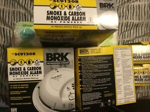 8 First Alert/ BRK Smoke & Carbon Monoxide Alarms Model SC9120B 120V AC Battery