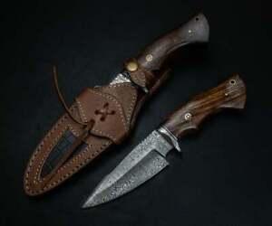 """CUSTOM HANDMADE DAMASCUS STEEL 9.5"""" HUNTING KNIFE, SKINNER KNIFE,BOWIE KNIFE"""