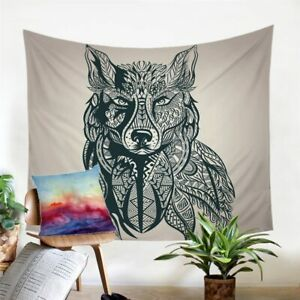 Black Mandala Wolf Animal Wall Tapestry Hanging Throw Cover Home Room Decoration