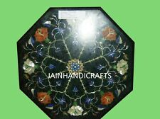 2' GREEN COFFEE DINING ROOM CORNER CENTER MALACHITE TABLE TOP MOSAIC INLAY