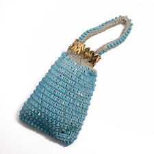 Vintage Expandable Opening Light Blue Beaded Purse Evening Prom Metal Accordion