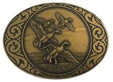 Vtg Solid Brass Flying Duck Belt Buckle Bird Hunting Wings Western 70s Hunting