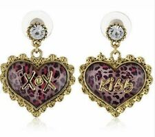 BETSEY JOHNSON GOLD TONE,HEART,XOX,KISS,CRYSTAL,LACE,PINK LEOPARD STUDS EARRINGS