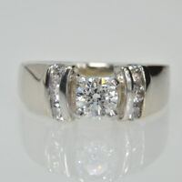 14k White Gold 3/4 Cttw Solitaire Wide Band Diamond Accents Engagement Ring