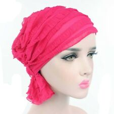 Fashion Womens Chiffon Ruffle Cancer Chemo Hat Beanie Scarf Turban Head Wrap Cap