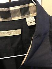 Auth Burberry Navy Men Button Down Shirt Collar & Cuffs Nova Plaid XL M