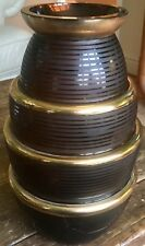 Art Deco Acid Etched/ Glided 3 Tier Glass Vase