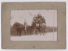 PHOTO ANCIENNE Voiture à cheval Attelage Transport Vers 1900 Calèche Drapeau