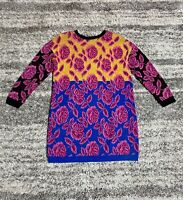 Vintage BETSEY JOHNSON Punk Label Rainbow Pink Rose Color Block Sweater Dress OS