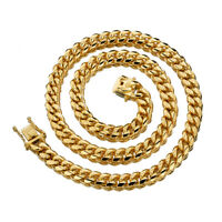 8mm width Men Boy Hip Hop Gold Stainless Steel Miami Curb Link Chain Necklace