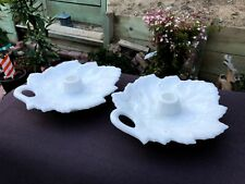 RARE Fenton Leaf White Milk Glass Pattern 5116, 5118, 5196 Candle Holder Pair