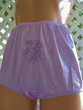 """EMBROIDERED VIOLET SATIN """"NOT YOUR GRANNY'S""""  PANTY BRIEF 9/2X"""