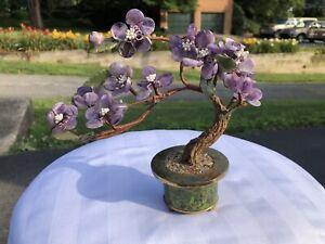 Vintage Japanese Bonsai Glass Brass Flowering Tree