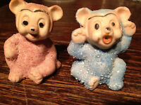 Pair rare vintage bisque snowbabies fairies bears Japan anthropomorphic sparkly