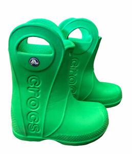 Crocs Unisex Handle It Rain Boots Green Pull On Size C7 Toddler Boy Girl  7 C