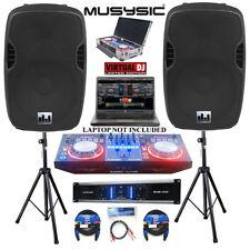 "Complete Professional DJ System 4500W Amplifier DJ MIDI Controller 15"" Speakers"