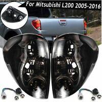 Car Pair L&R Rear Tail Light  Wiring Smoke Black For Mitsubishi L200 05-16