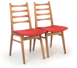 2 Stühle Stoff-Polster-Sitz scandinavisches Design Sixties midcentury