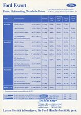 FORD ESCORT listino prezzi 1993 19.7.93 price list prijslijst LISTINO animaux Prezzi