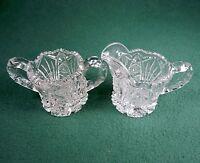 Vintage Cream Pitcher & Sugar Bowl ~ Imperial Glass Hobstar #212, Diamonds & Fan