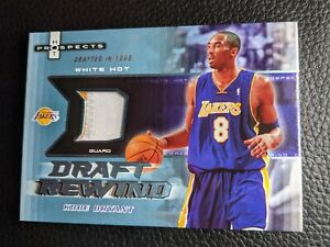 2006 HOT PROSPECTS WHITE HOT KOBE BRYANT GAME USED JERSEY PATCH LAKERS #02/10