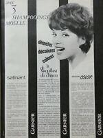 PUBLICITÉ DE PRESSE 1961 GARNIER 3 SHAMPOOINGS MOELLE SATINANT CRISTAL COLOR