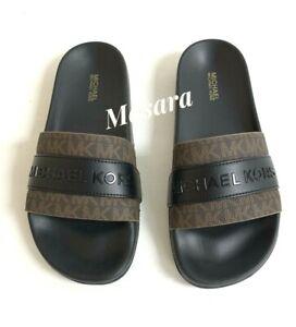 Women MK Michael Kors Brandy Flat Slide Sandals Mini MK Logo Brown/Black