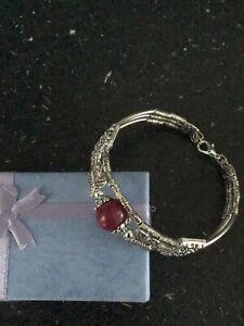 Silver And Purple Bead Coloured Tibetan Design Fashion Bracelet
