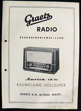 Historische Radio-Anleitung ~Graetz Musica 4 R / 217~ 1955/56 Original Manual