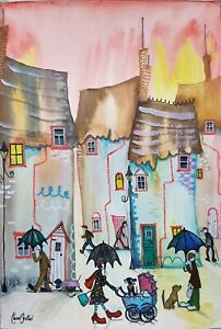 Original Naive Street Scene Painting By Claire Shotter. Houses Umbrellas Dogs