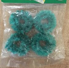 "Vintage Pack 4 Miniature Christmas Bottle Brush 1"" Wreaths Dollhouse Crafts NEW"
