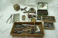 VINTAGE WATCH REPAIR TOOLS PARTS LOT GEARS BITS WATCHMAKER JEWELER CLOCKMAKER