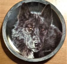 """Bradford Exchange colectible plate, """"Keeper Of The Night"""" wolf plate"""
