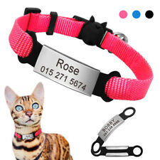 Personalized Cat Collar Breakaway & Slide On ID Tags Engraved Adjustable & Bell