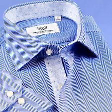 Mens Blue Herringbone Professional Formal Business Shirts With Elegant Floral