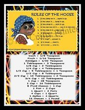 """BLACK AMERICANA MAMMY MAGNET - MEASUREMENT GUIDE - Rules of the House - 5"""" x 7"""""""