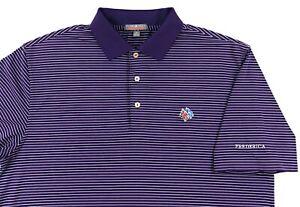 Peter Millar Summer Comfort Golf Polo Shirt Mens Medium Purple White Striped