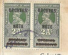 India KGV Broker's Note provisionals on 1924 debenture contract