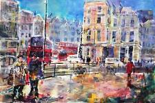 "BEAUTIFUL SERA KNIGHT ORIGINAL ""Life Goes On, London"" Bus Street Road PAINTING"
