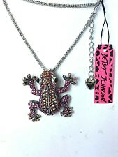 Betsey Johnson Rose Crystal Frog Silver Plated Pendant Necklace #1