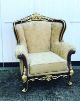 Armchair, Stylishly Upholstered And Woodwork Decorated With Gold Gilt.