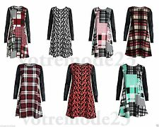 Polyester Checked Long Sleeve Casual Dresses for Women