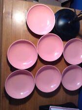 """Set of 7 Boontonware Vintage Rose Pink Bowls Melmac 6"""" 6305-15 Somerset Usa"""